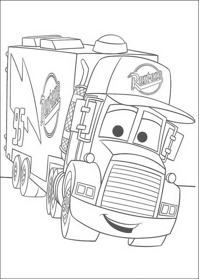 Cars Disney Gewelidig Grote Vrachtauto Coloring With The