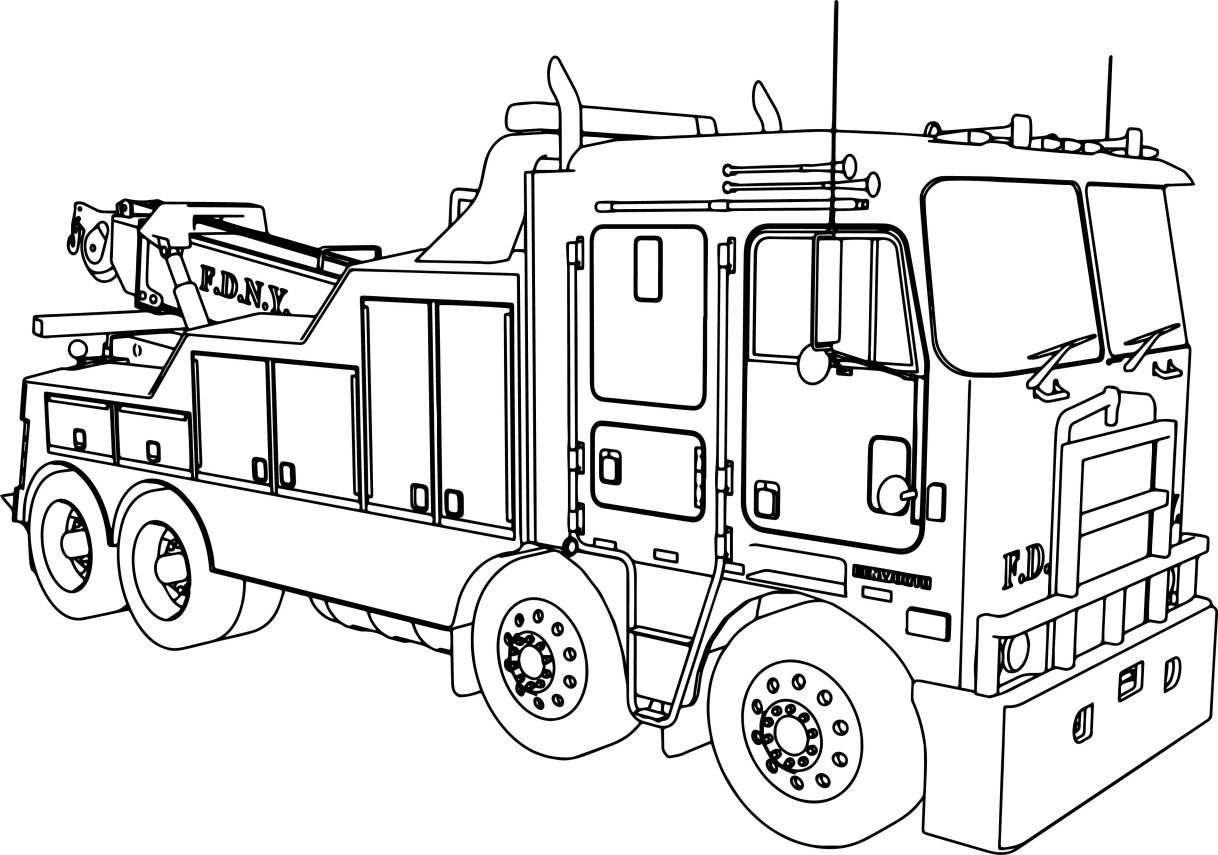 Fire Truck Coloring Page Kenworth Wrecker Fire Truck Coloring Page