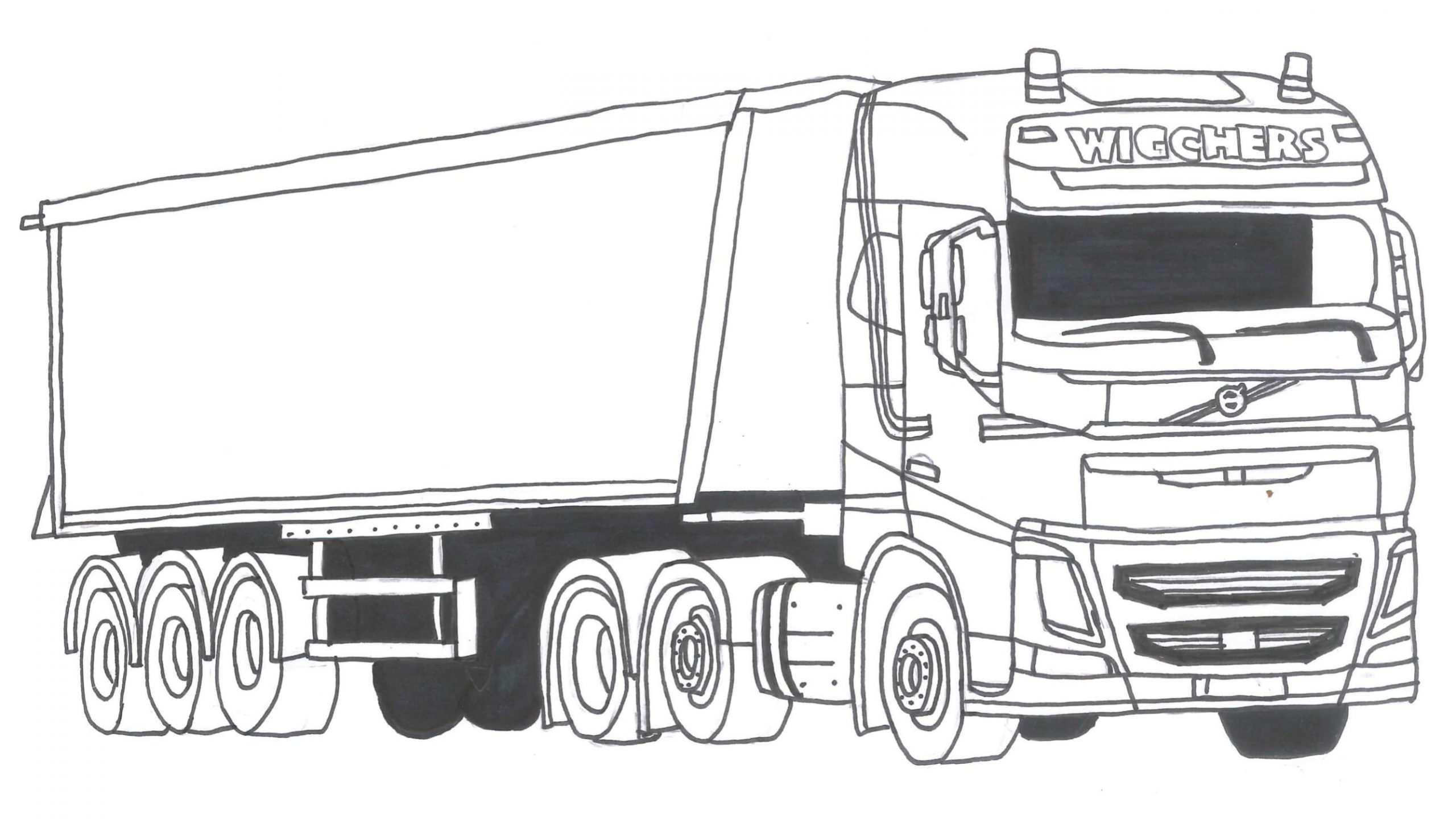 kleurplaat vrachtwagen met oplegger