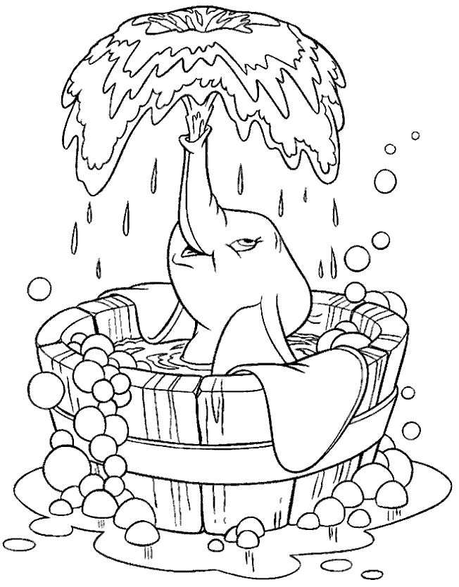 Kleurplaat Dumbo Olifant Water Wassen Kleurplaten Disney