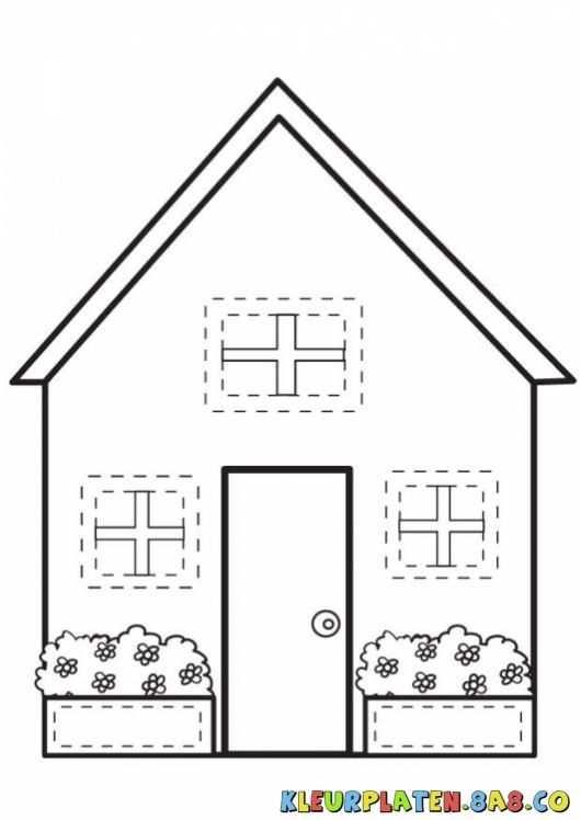 Casita Met3 Ramen Coloring Huizen Kleurplaten Een Huis Met