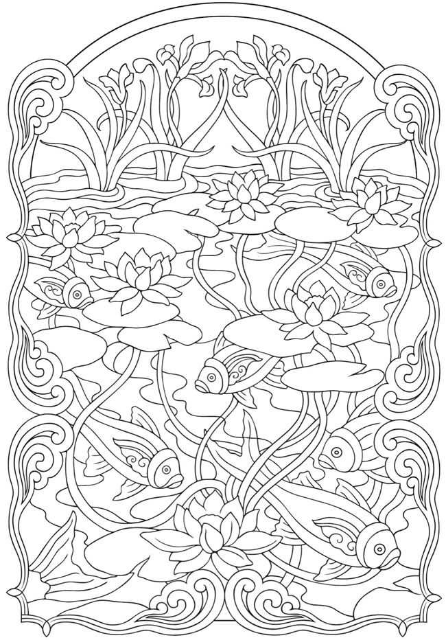 Kleurplaat Vissen En Waterplanten Colorir Adult Coloring Pages
