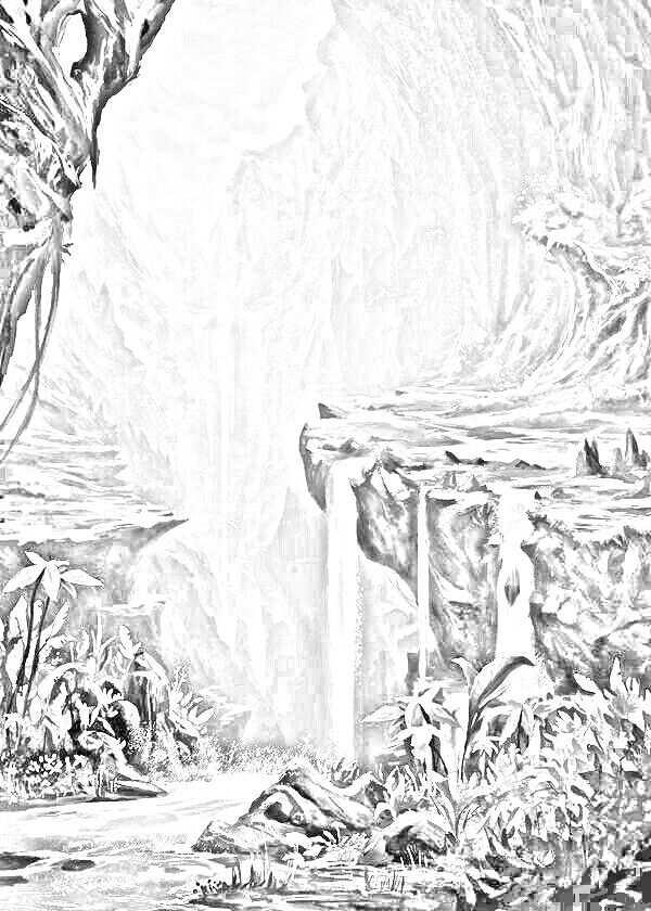 Waterval Met Afbeeldingen Kleuren Zwart Wit Kleurplaten
