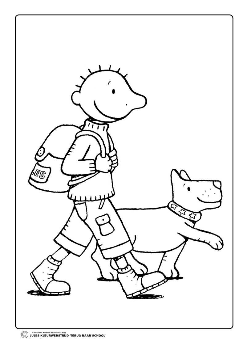 Jules Rugzak Hond Peuter Thema Terug Naar School En Kleurplaten