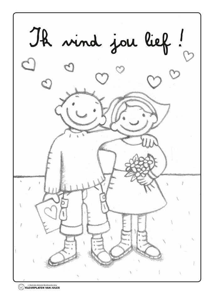 Jules Ik Vind Jou Lief Kleurplaten Valentijnen Valentijnideeen