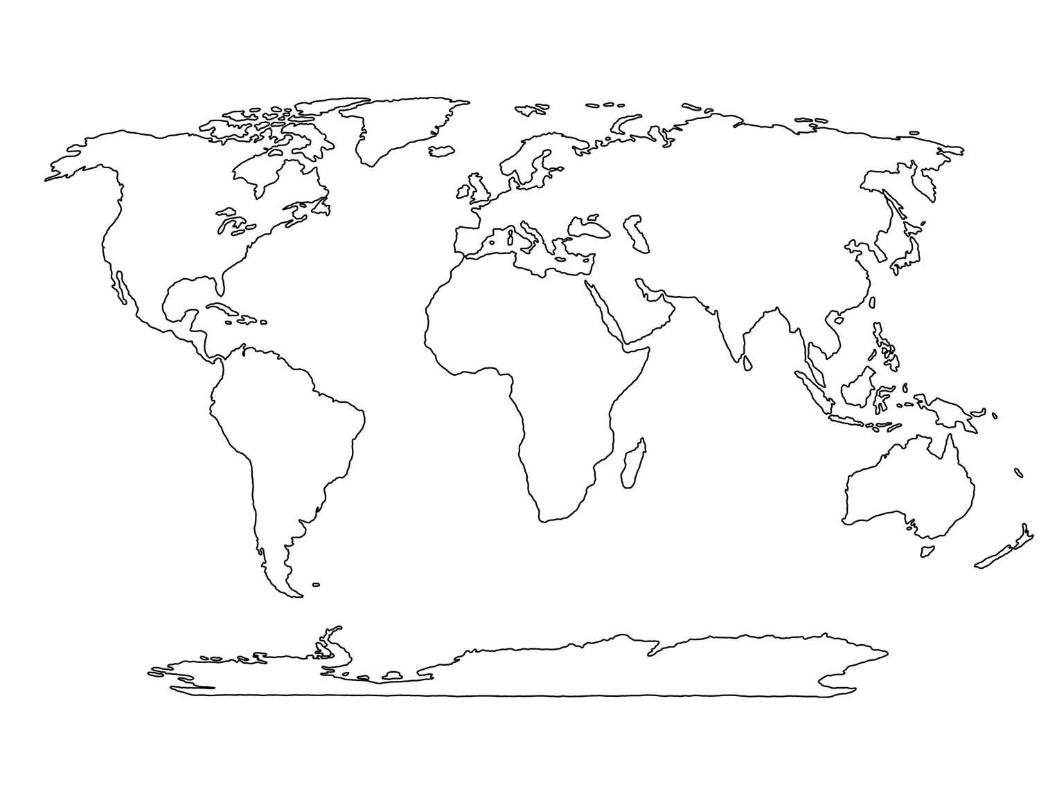 Printable Blank World Map Template For Students And Kids Carte