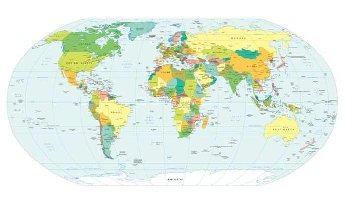 Fotobehang Wereldkaart Politieke Grenzen Pixers We Leven Om
