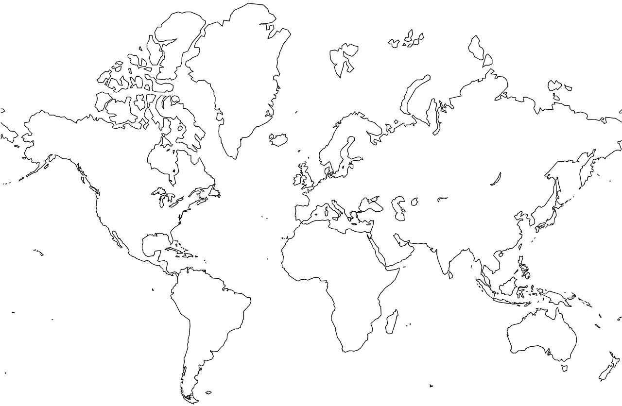 kleurplaat wereldkaart met grenzen