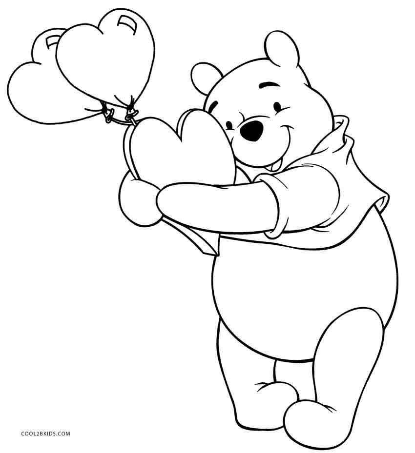 Winnie The Pooh Coloring Pages Heart Jpg 850 929 Valentine