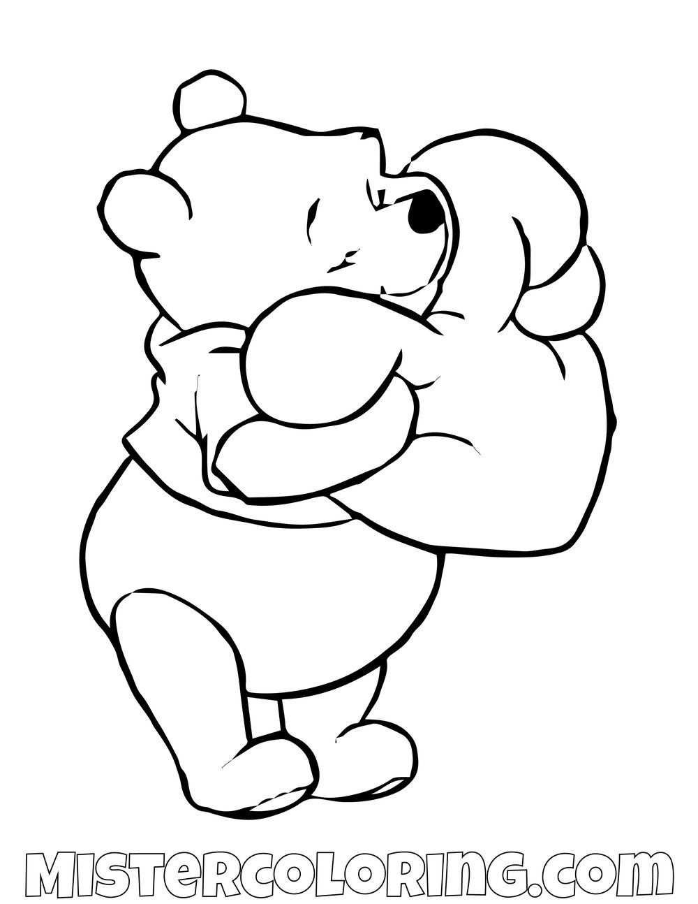 Winnie The Pooh Hugging A Heart Coloring Page With Images