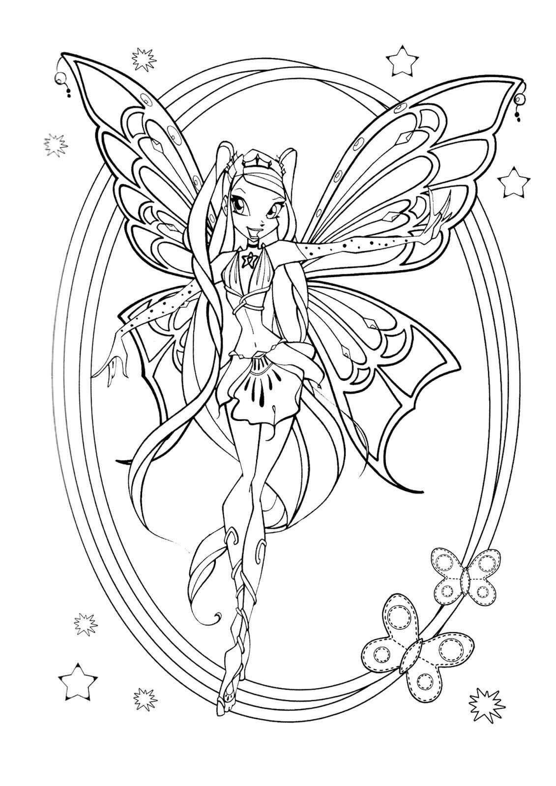 Pin Af Majamorkholt Pa Winxclub Coloring Pages Tegninger