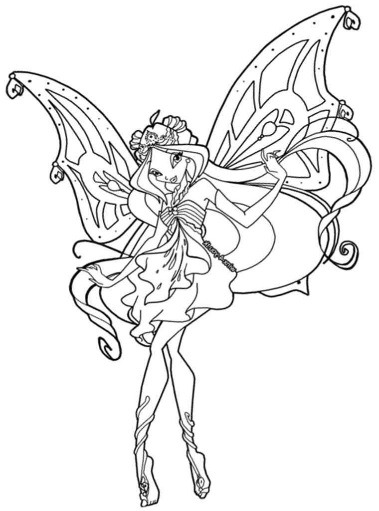 Free Winx Club Enchantix Colouring Pages With Images Fairy
