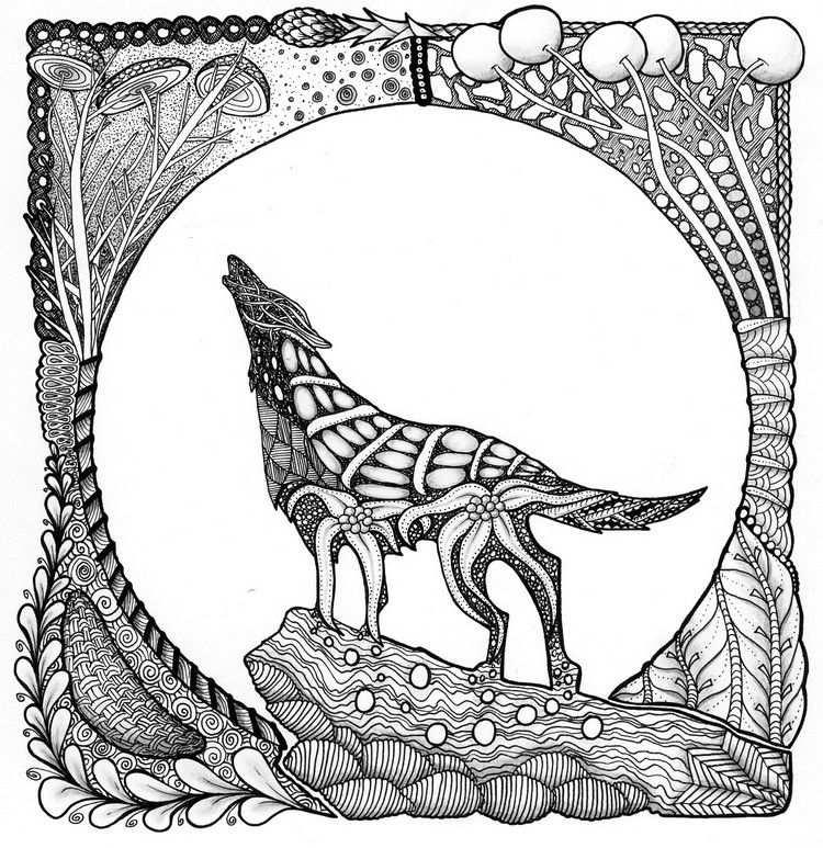 Kleurplaat Wolf Met Afbeeldingen Kleurplaten Mandala