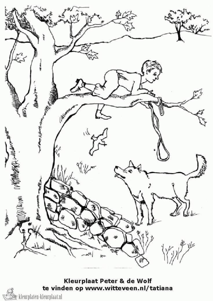 Kleurplaat Peter En De Wolf Met Afbeeldingen Muziek