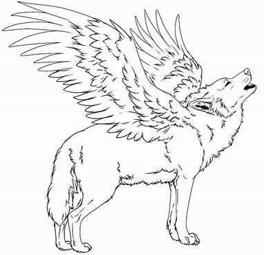 Kleurplaat Wolf Met Vleugels