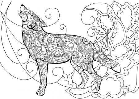 Kleurplaat Met Wolf Stockillustratie 102818658 Producao De
