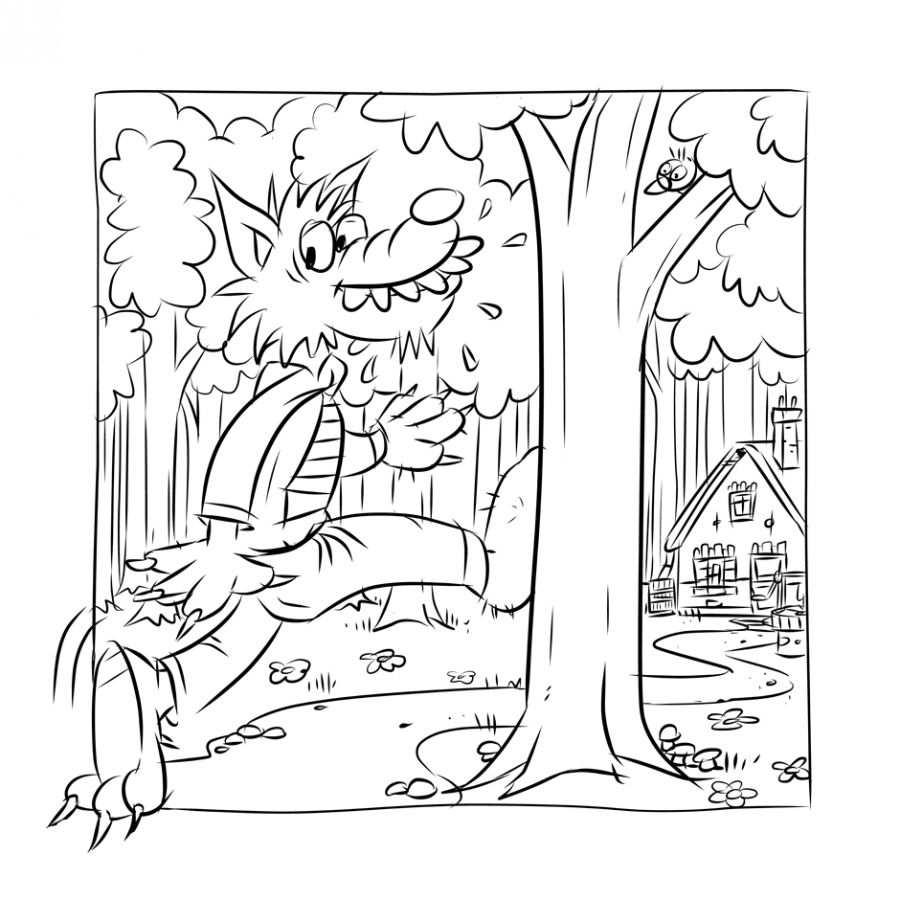 Roodkapje Kleurplaat Wolf Sprookjes Kleurplaten Roodkapje