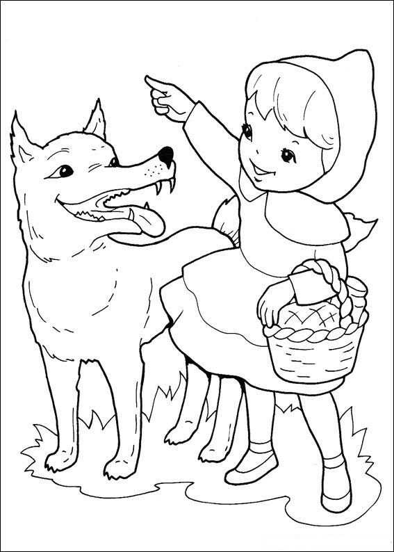 Kleurplaat Roodkapje Wolf Wijst De Weg Sprookjes