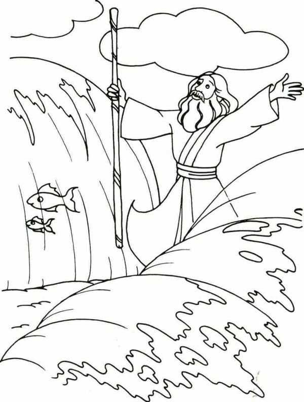 Moses Moses Divide The Red Sea With His Stick Coloring Page
