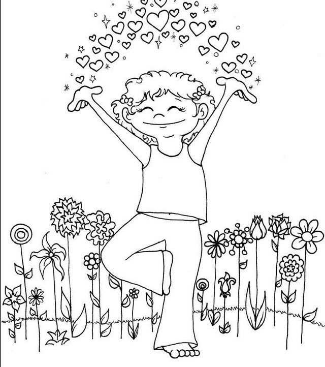 Yoga Pose Taking A Breath Coloring Page For Kids Dengan Gambar