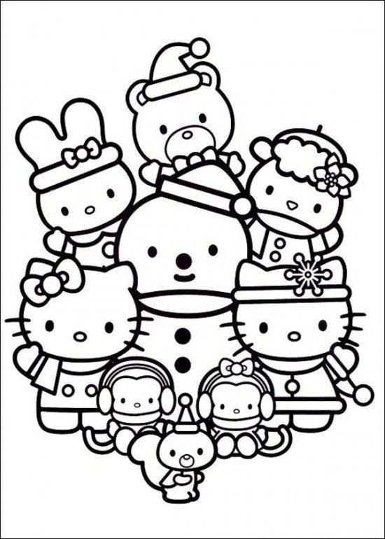 Hello Kitty Coloring Page Christmas With Friends With Images