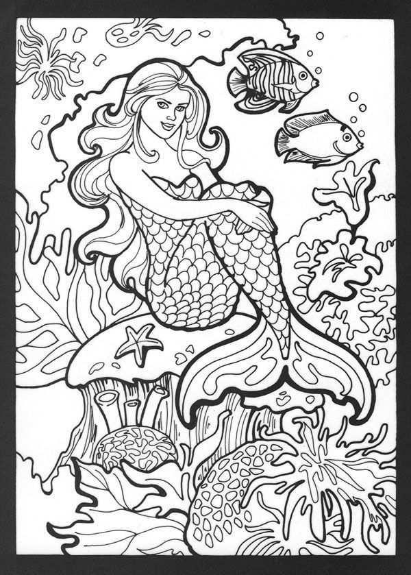 Kleurplaat Zeemeermin Realistic Mermaid Coloring Pages Download