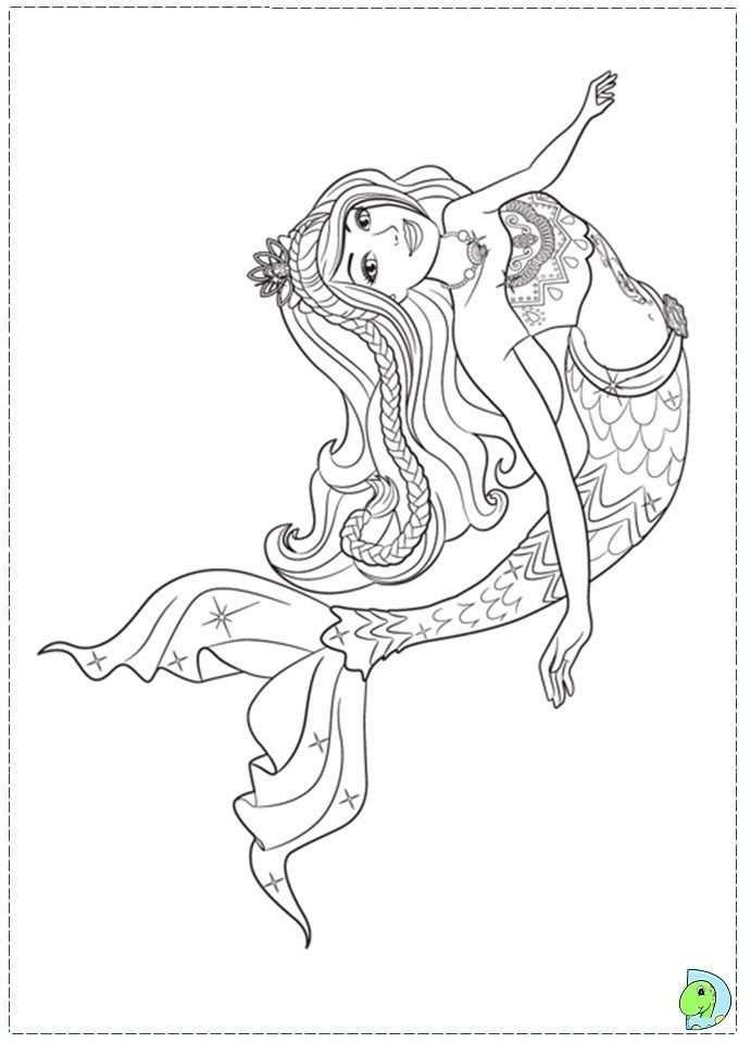 Mermaid Mermaids Kleurplaten Digi Stempels Barbie
