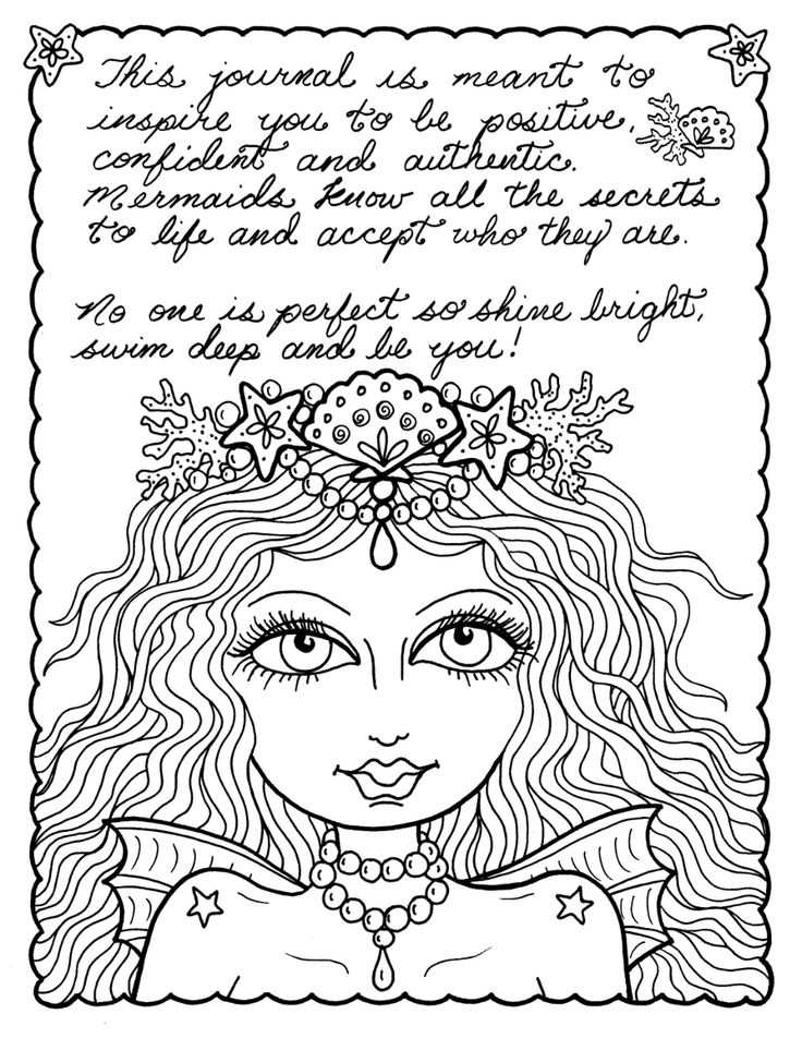 Digital Coloring Book Download And Color Mermaid Soul Journal