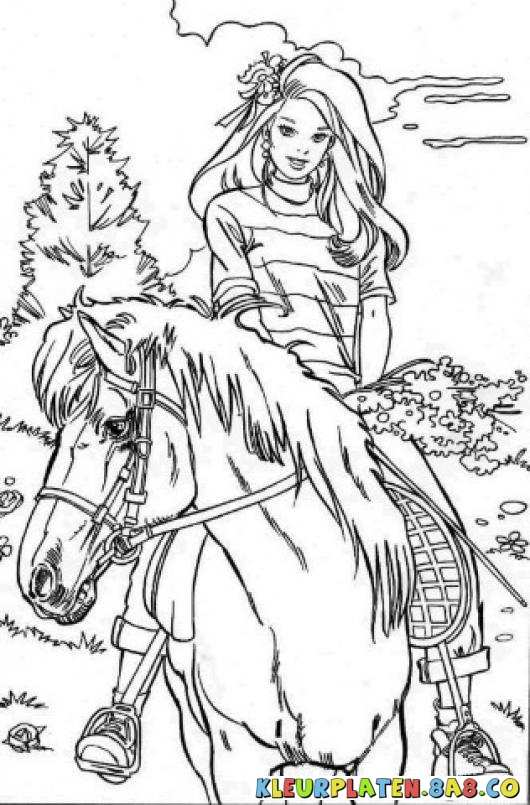Klimmen Op Een Paard Barbie Kleur Paarden Varbie Tennis Een