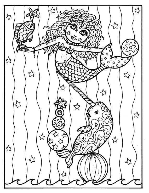 Zeemeermin Circus Coloring Boek Volwassen Kleurplaten Alle