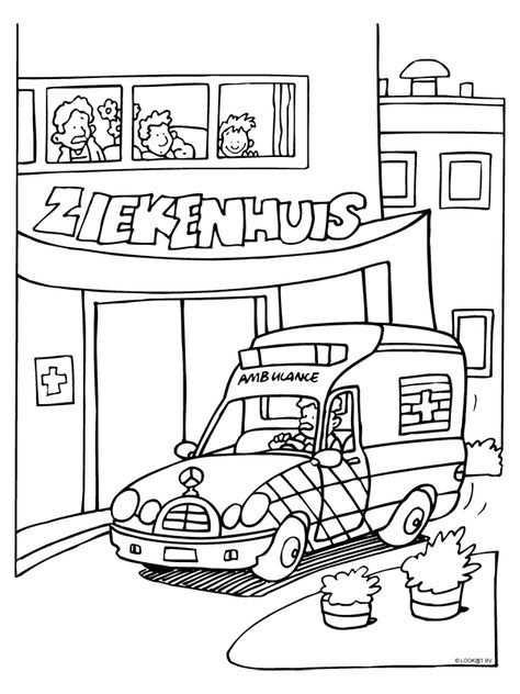 Kleurplaat Ambulance Bij Ziekenhuis Kleurplaten Nl Ziekenhuis