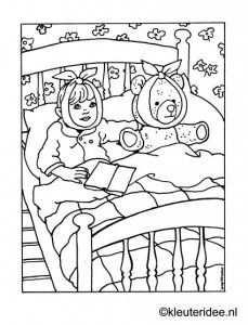Kleurplaat Ziek In Bed Kleuteridee Nl Sick In Bed Coloring