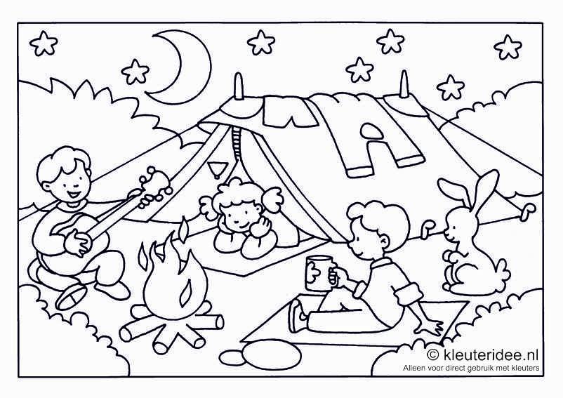 Kleurplaat Camping Voor Kleuters Thema Kamperen Kleuteridee