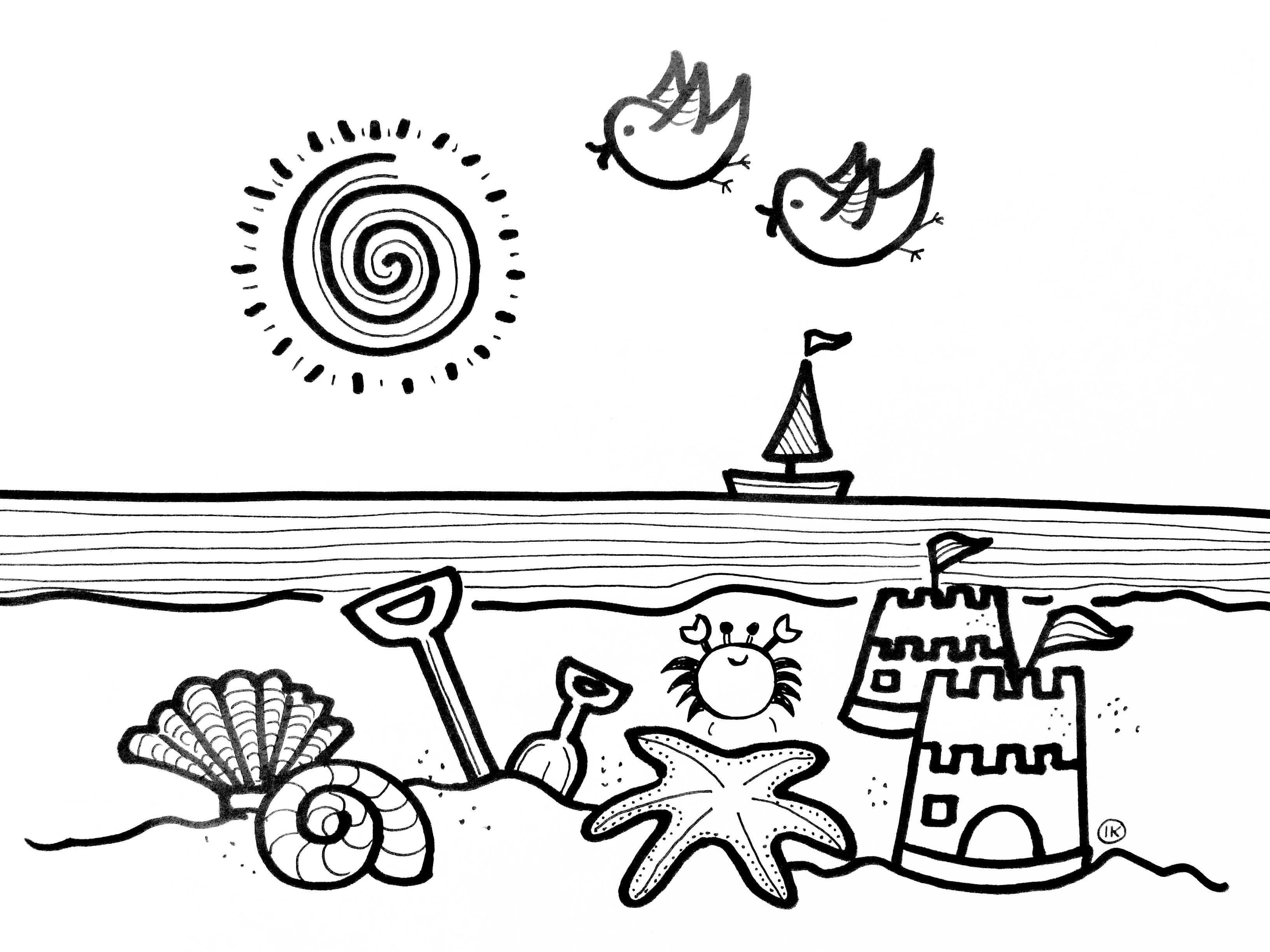 Zomerse Kleurplaten Zon Zee En Strand Met Afbeeldingen Zomer