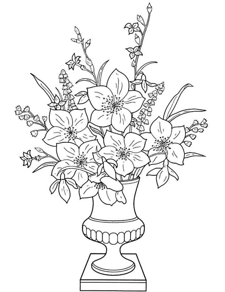 This Coloring Page Features A Well Presented Vase Of Flowers