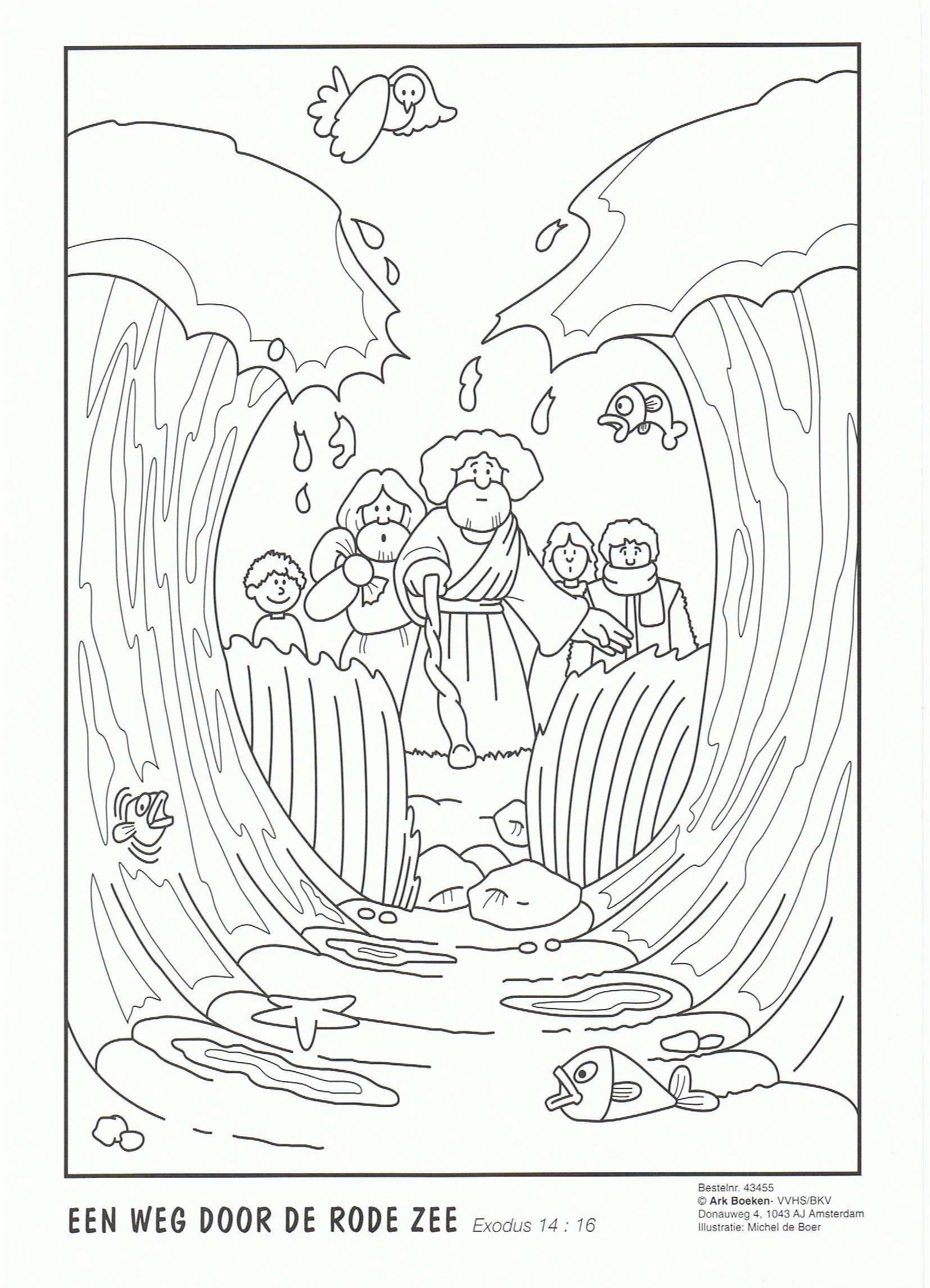 Kleurplaat Een Weg Door De Rode Zee Zondagschool Bijbel