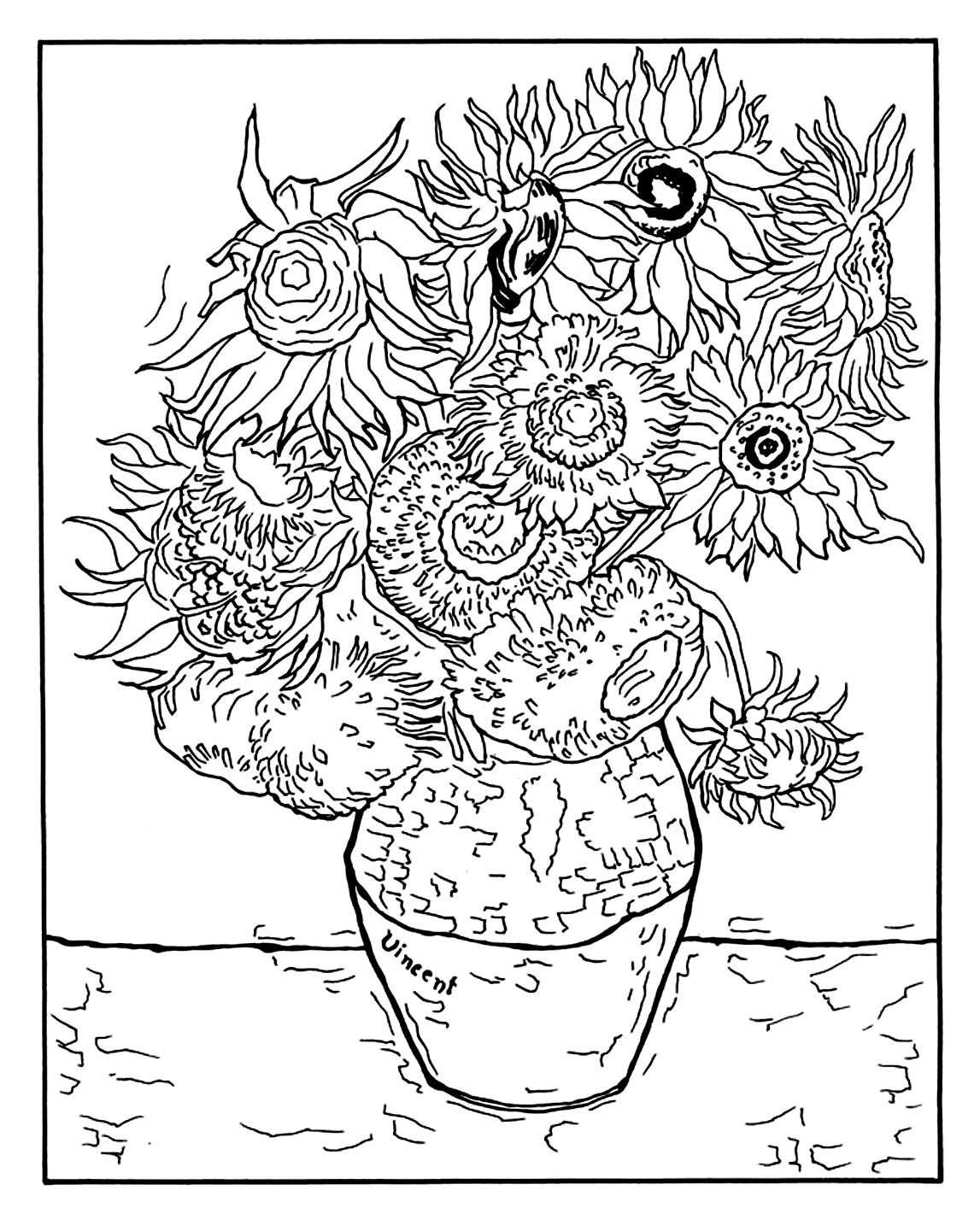 Vase With Twelve Sunflowers Masterpieces Coloring Pages For