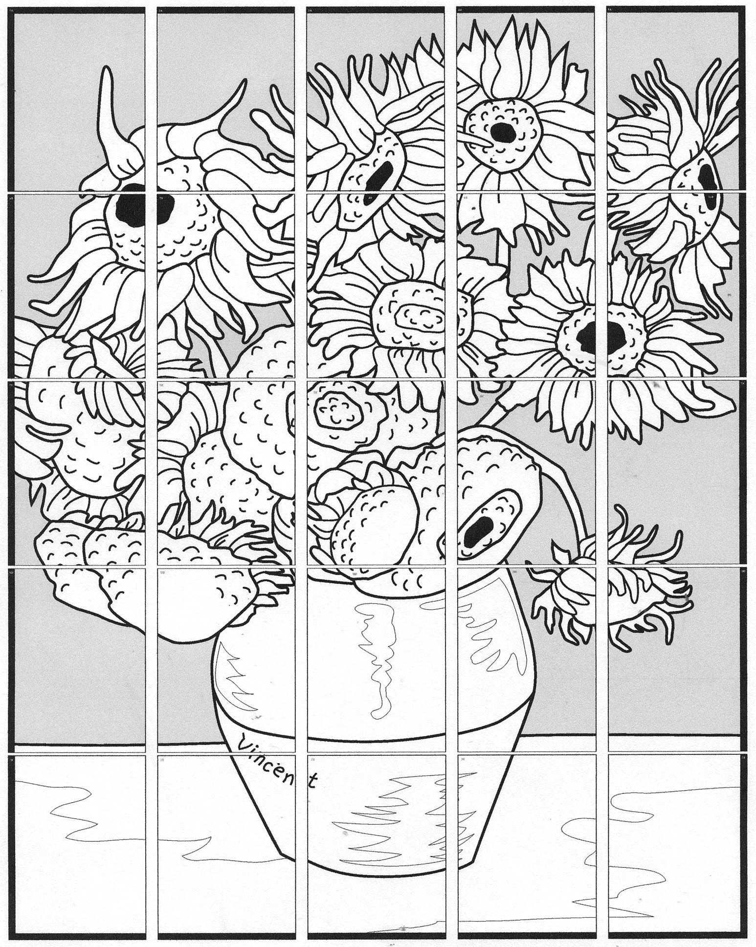 Van Gogh Sunflower Mural Collaboratieve Kunst Van Gogh Kunst En