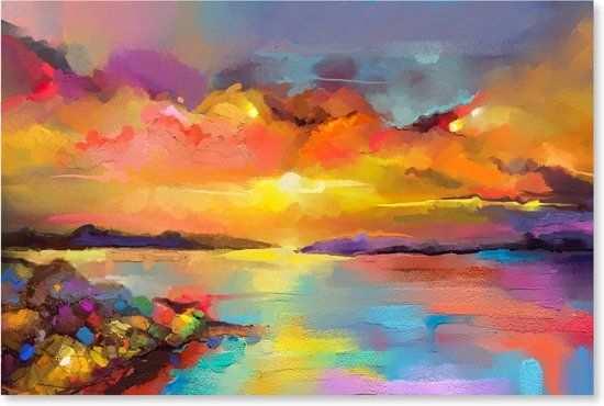 Zonsondergang Op Zee Outdoor Schilderij Op Canvas Voor Buiten In