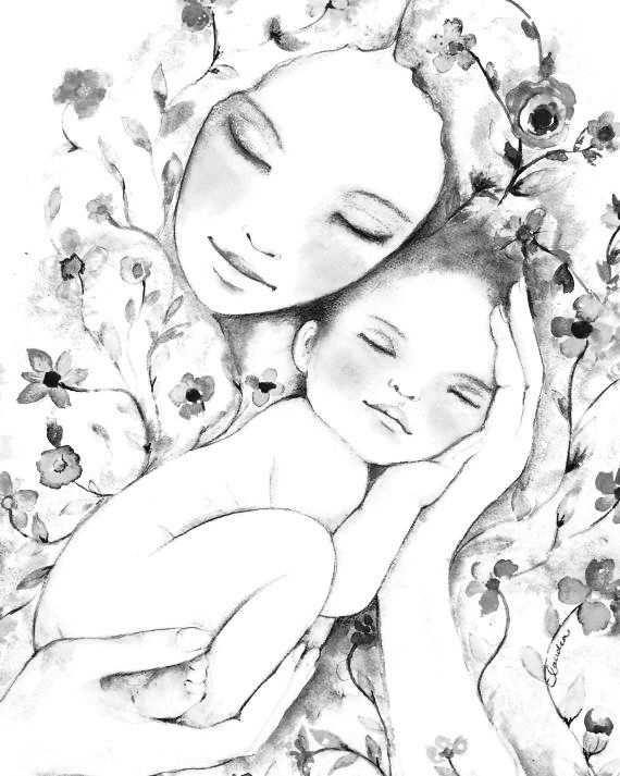 Mother And Son Coloring Page Kunst Inspiratie Botanische