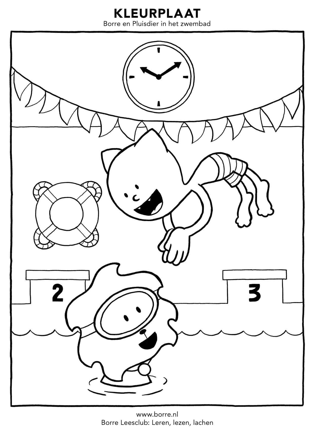 Borre En Pluisdier In Het Zwembad Kleurplaten In Hogere