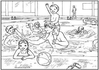 kleurplaat zwembad moeilijk