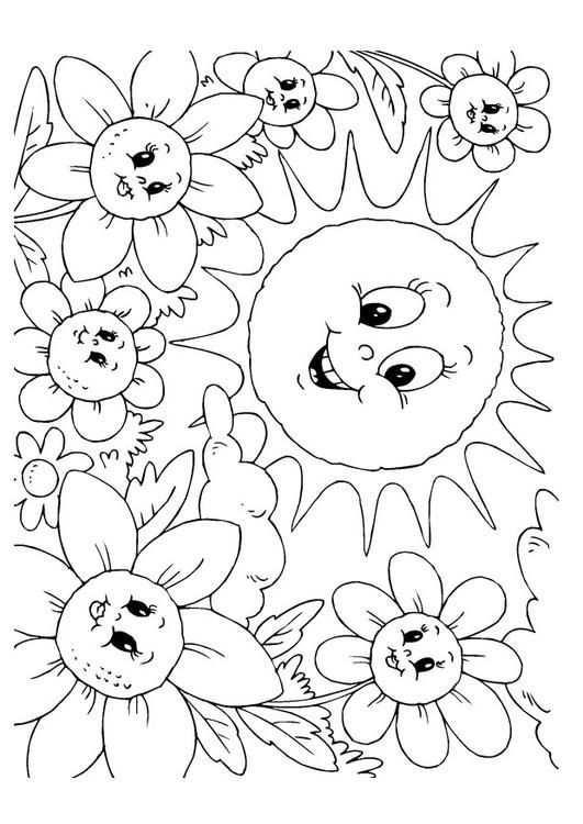 Kleurplaat Zomer Kinderen Leren Terwijl Ze Kleuren Afbeeldingen