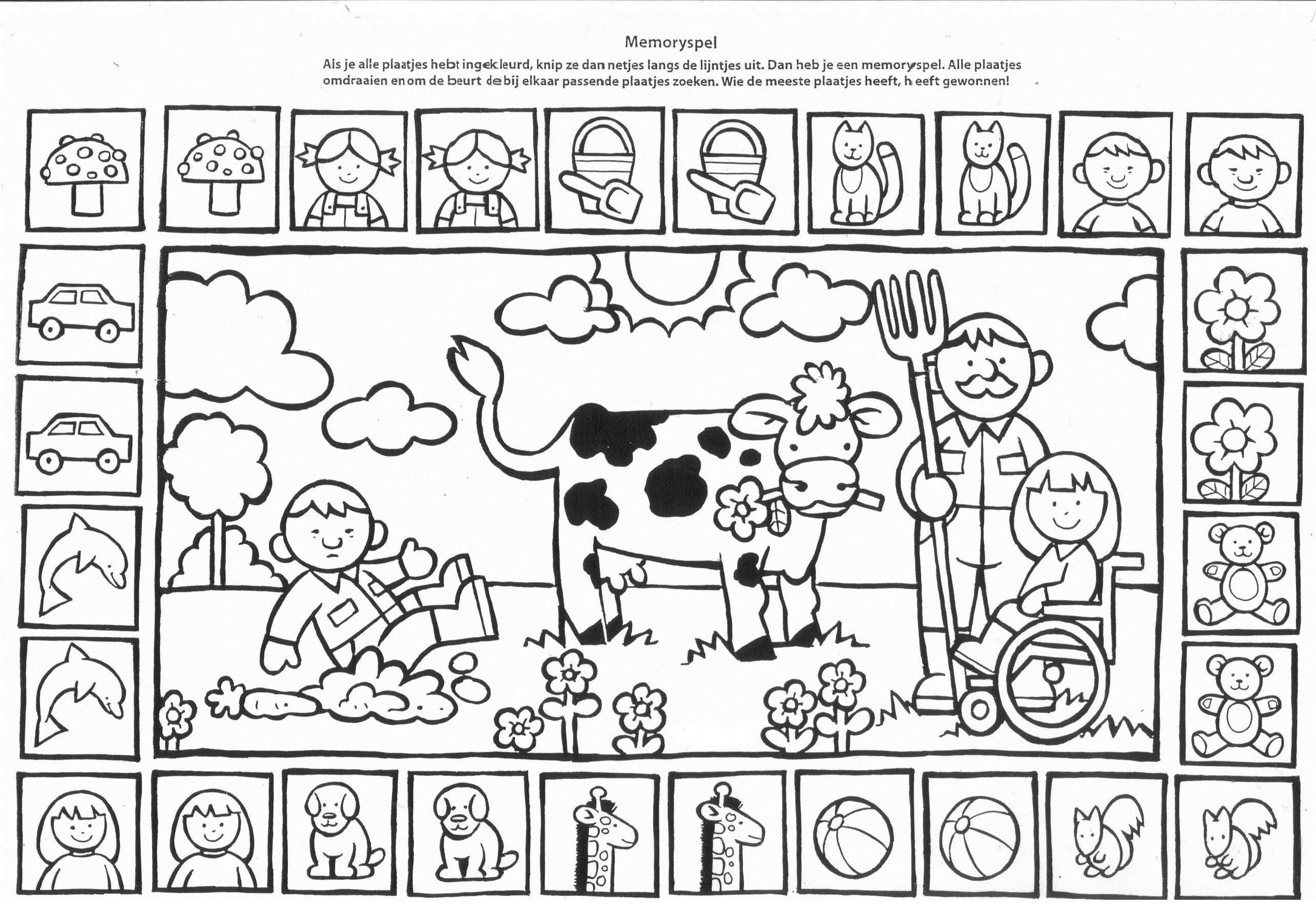 Kleurplaat En Memorie Kleurplaten Boerderijdieren Kinderboerderij