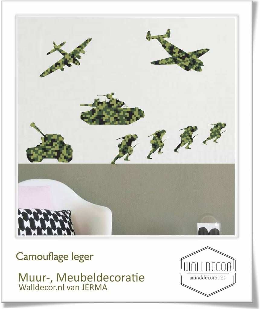 Muurstickers Soldaten Vliegtuigen En Tanks Decoratie Stickers In