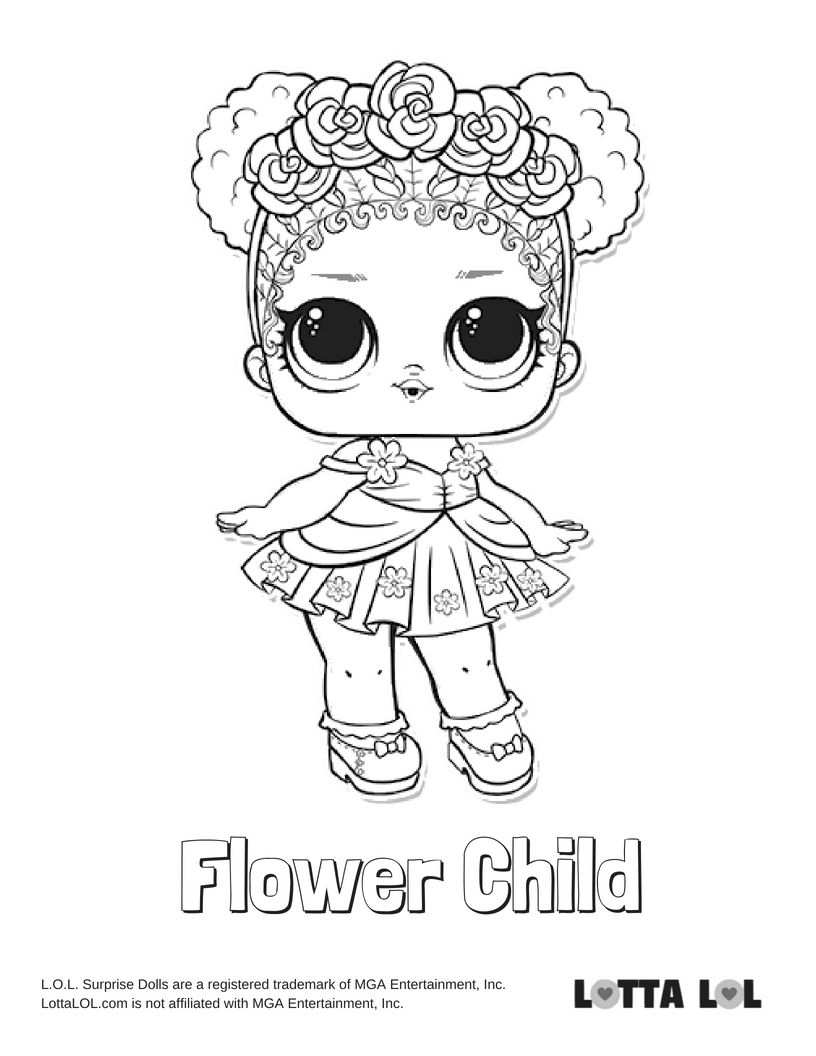 Flower Child Coloring Page Lotta Lol With Images Coloring
