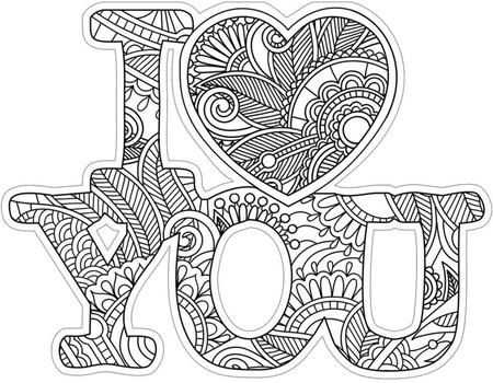 I Love You Diecut Coloring Card Mandala Coloring Coloring Books