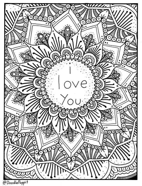 I Love You Coloring Page Coloring Book Pages By Doodlepoppit