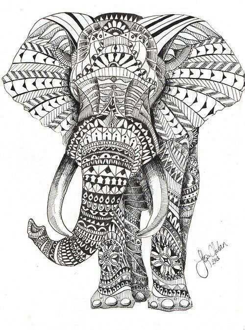 Elephant Mandala Kleurplaten Olifant Kunst