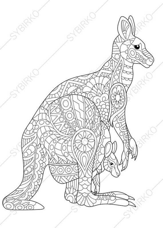 Coloring Pages For Adults Australian Kangaroo Wallaby Family